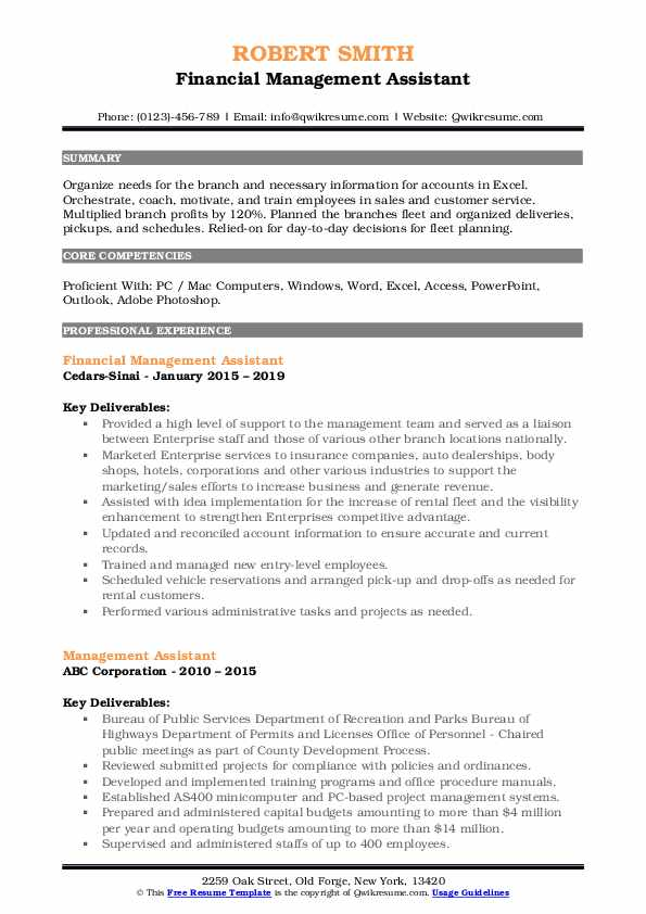 Financial Management Assistant Resume Model