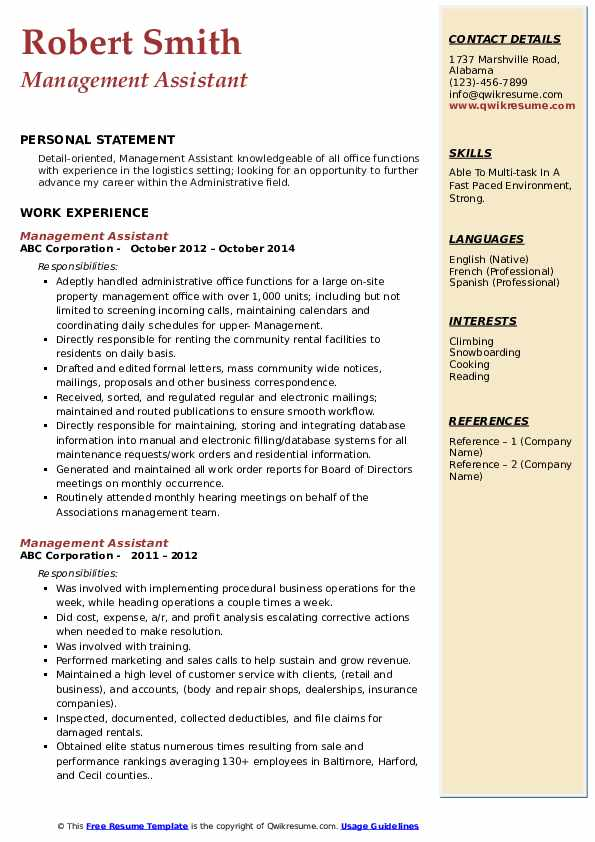 Management Assistant Resume Example