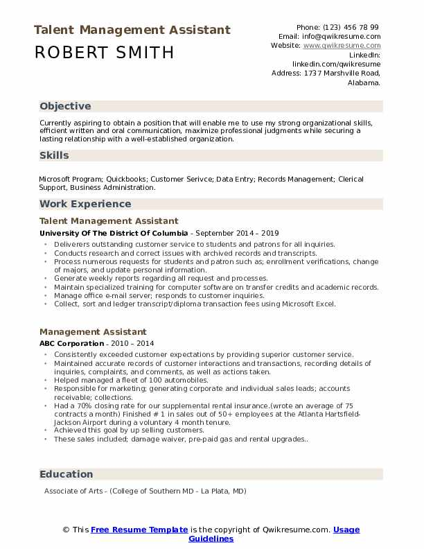 Talent Management Assistant Resume Model