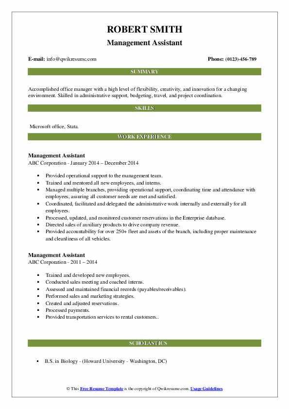 Management Assistant Resume Model