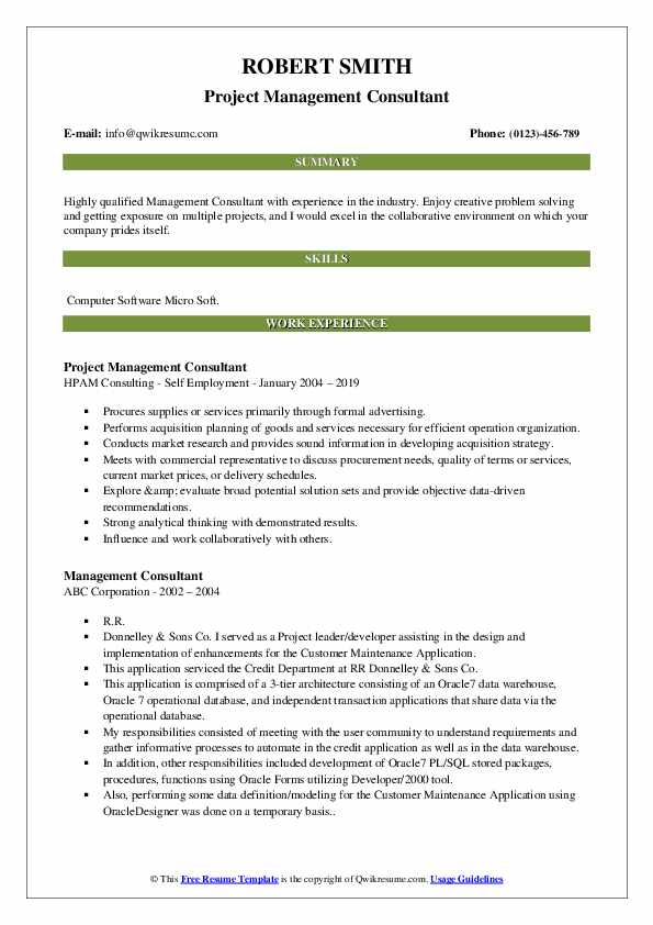 Project Management Consultant Resume Model
