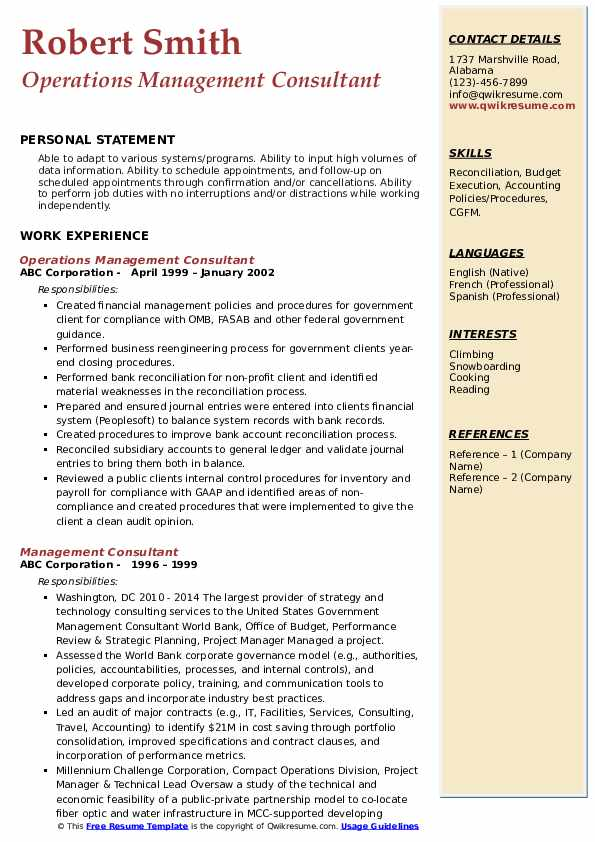 Operations Management Consultant Resume Example