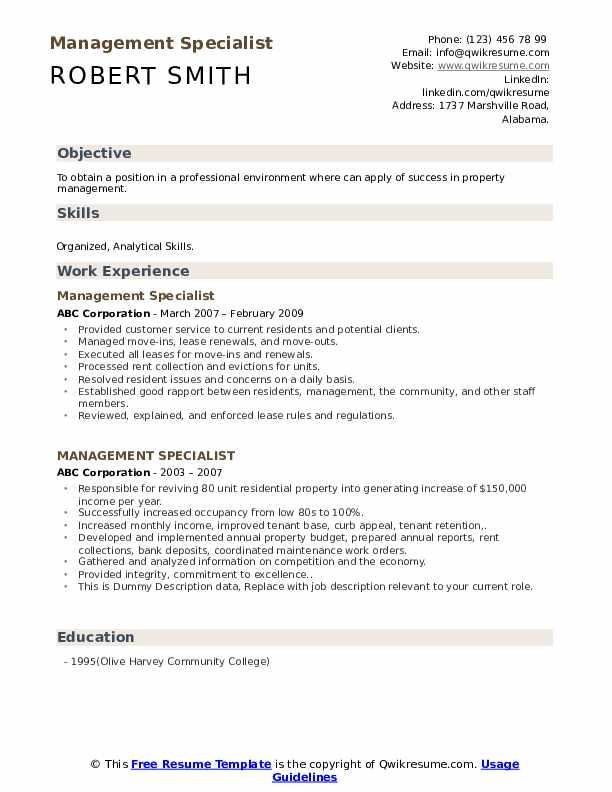 Management Specialist Resume example