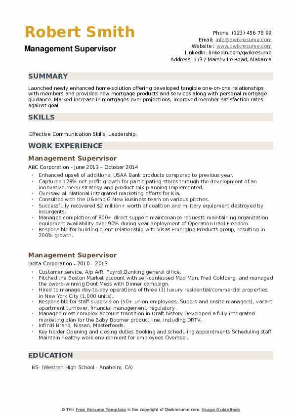 Management Supervisor Resume example