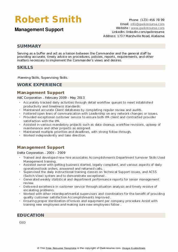 Management Support Resume example