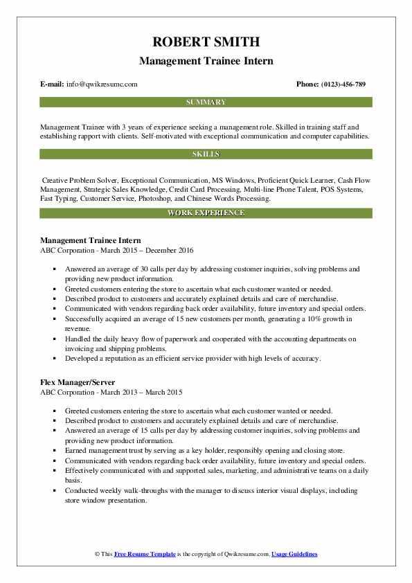 Management Trainee Intern Resume Template