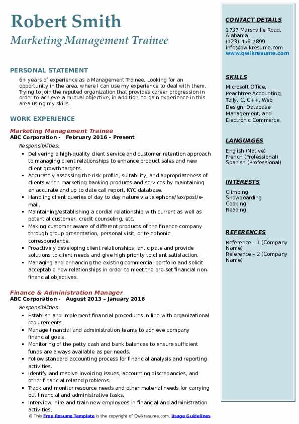 Marketing Management Trainee Resume Template