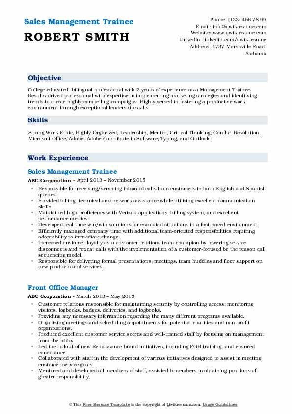 Sales Management Trainee Resume Template