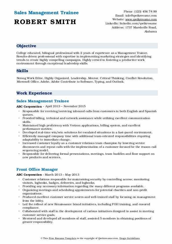 Sales Management Trainee Resume Sample