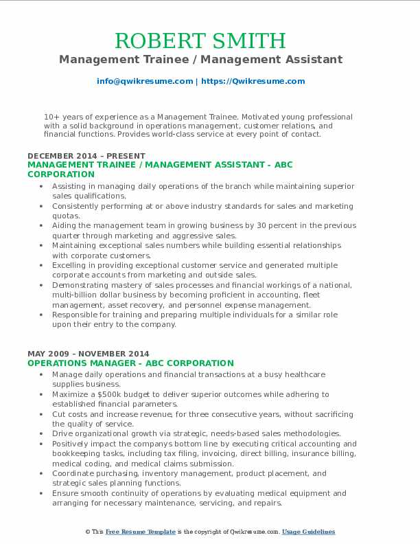 Management Trainee / Management Assistant Resume Example