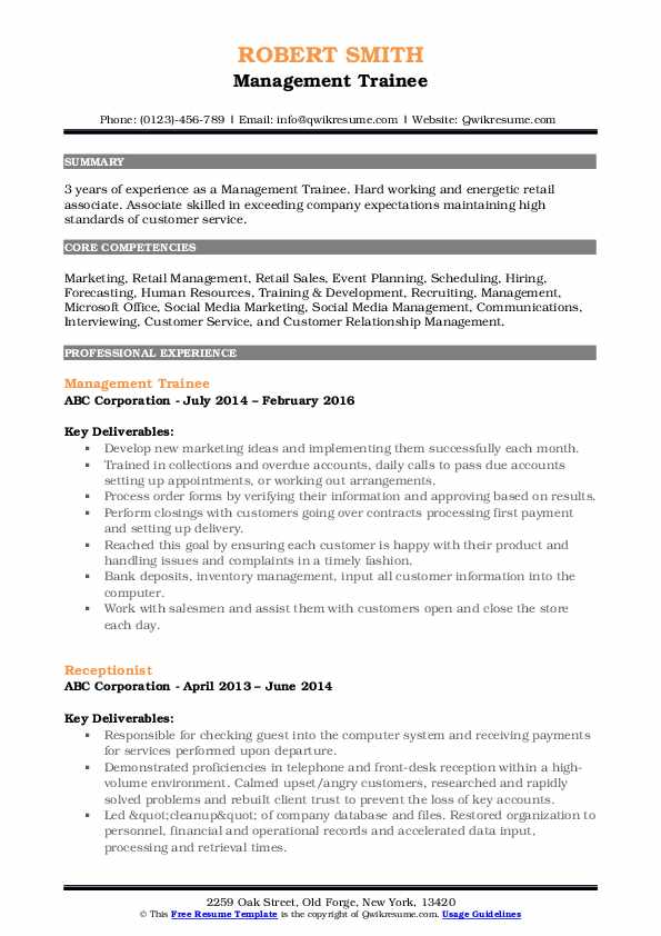 Management Trainee Resume Template