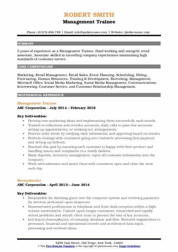 management trainee resume samples