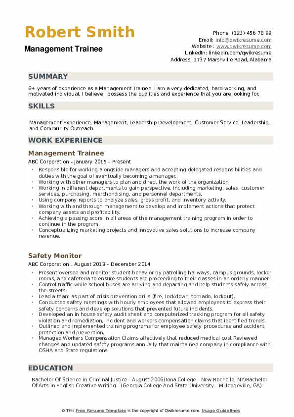 Management Trainee Resume example