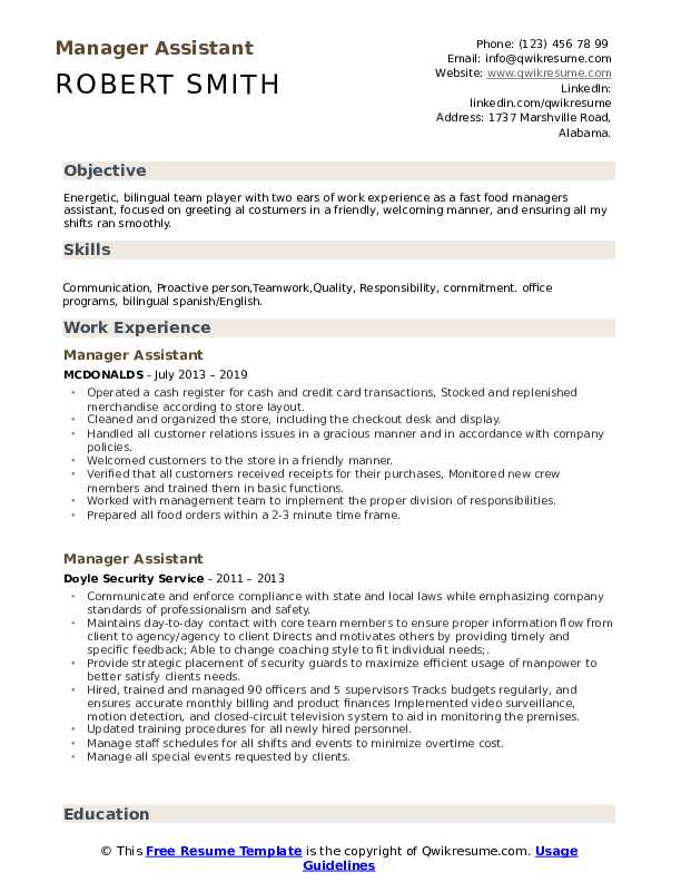 Manager Assistant Resume Sample