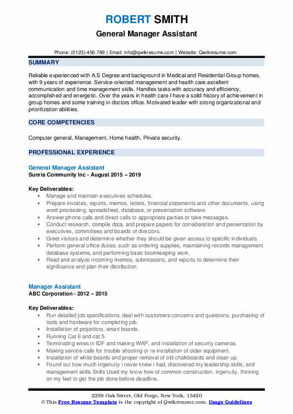General Manager Assistant Resume Format