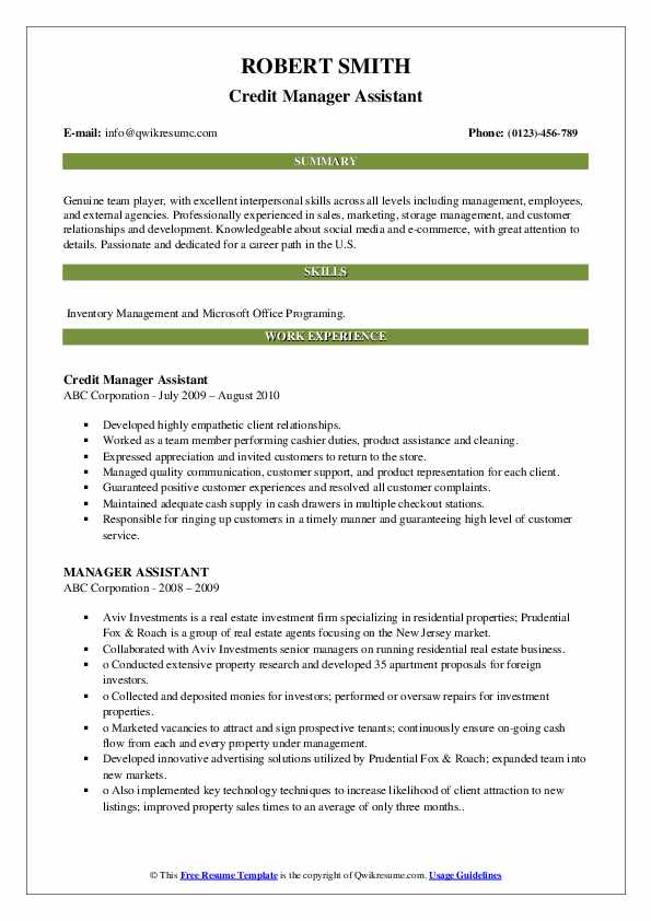 Credit Manager Assistant Resume Example