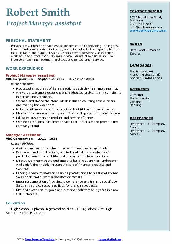 Project Manager assistant Resume Sample
