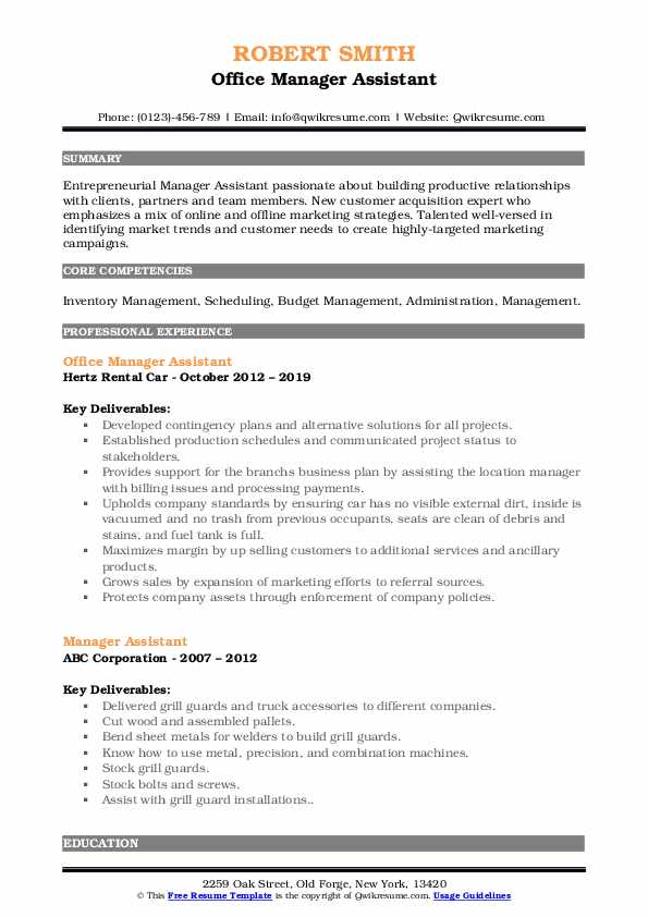 Office Manager Assistant Resume Sample