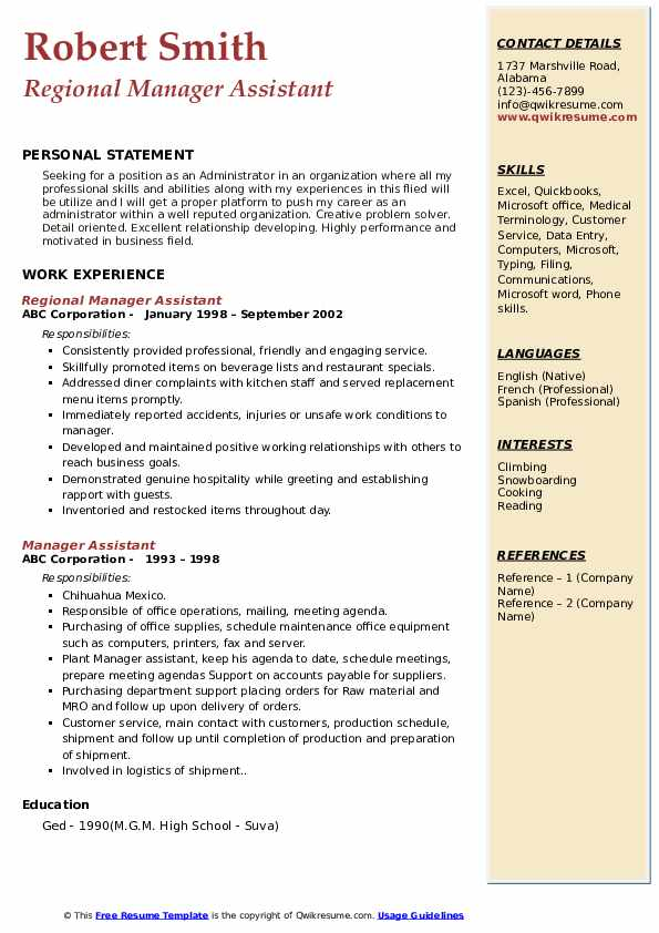 Regional Manager Assistant Resume Sample