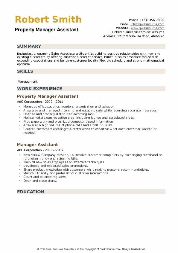 Property Manager Assistant Resume Format