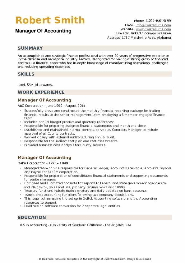 Manager Of Accounting Resume example
