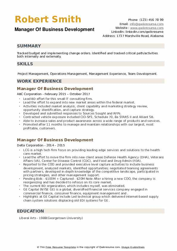 Manager Of Business Development Resume example