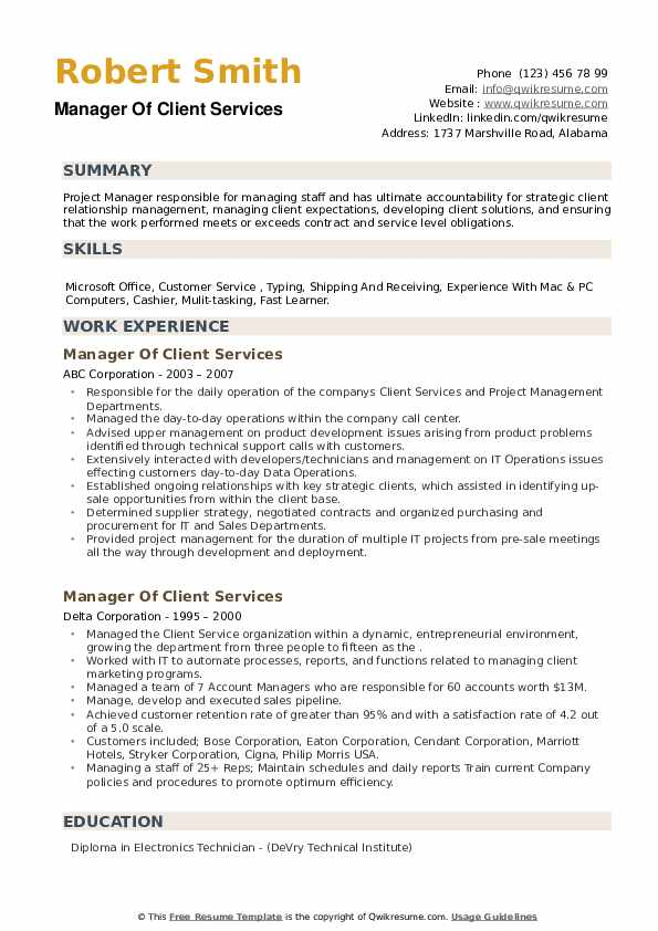 Manager Of Client Services Resume example
