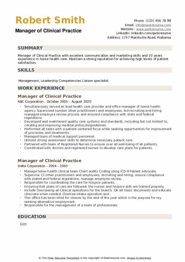 Manager of Clinical Practice Resume example
