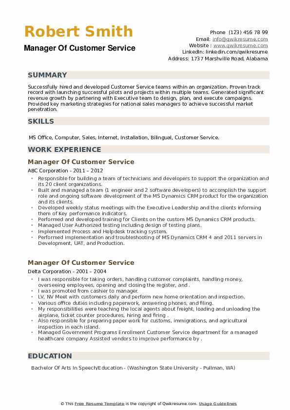 Manager Of Customer Service Resume example