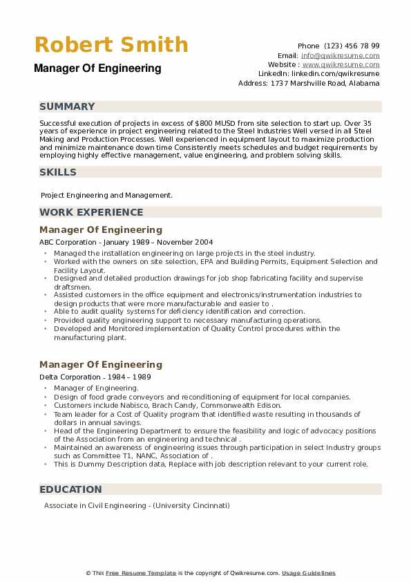 Manager Of Engineering Resume example