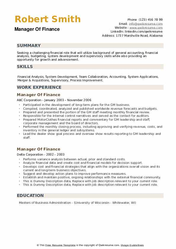 Manager Of Finance Resume example