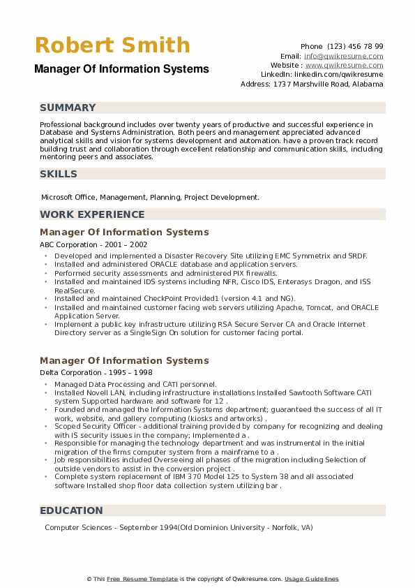 Manager Of Information Systems Resume example