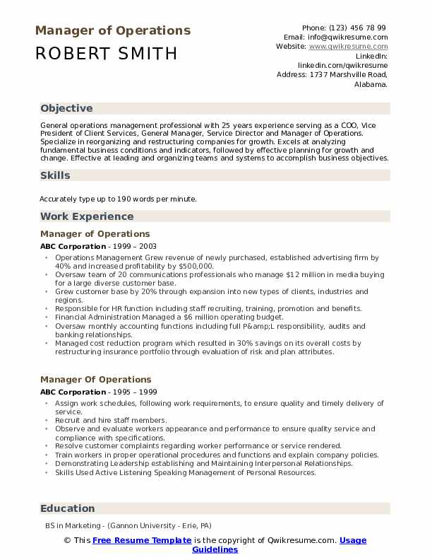 Manager of Operations Resume Sample
