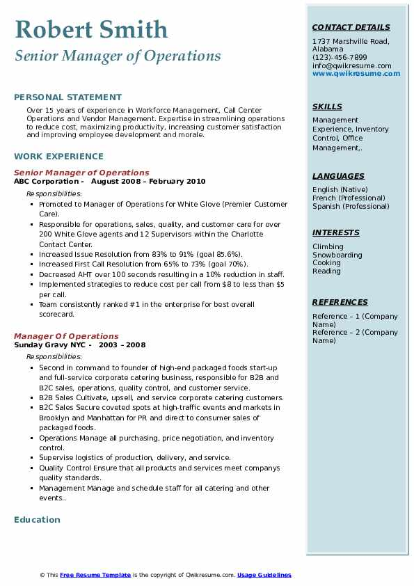Senior Manager of Operations Resume Template