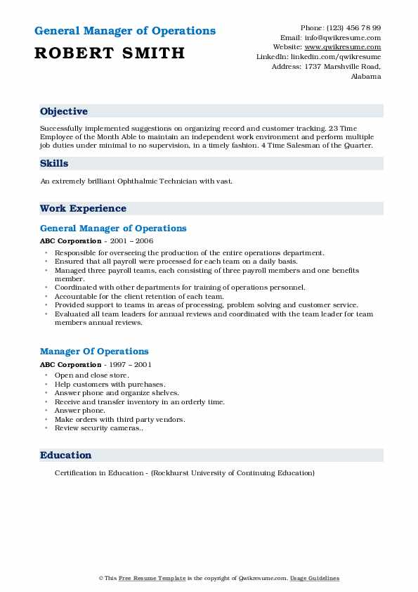 General Manager of Operations Resume Sample