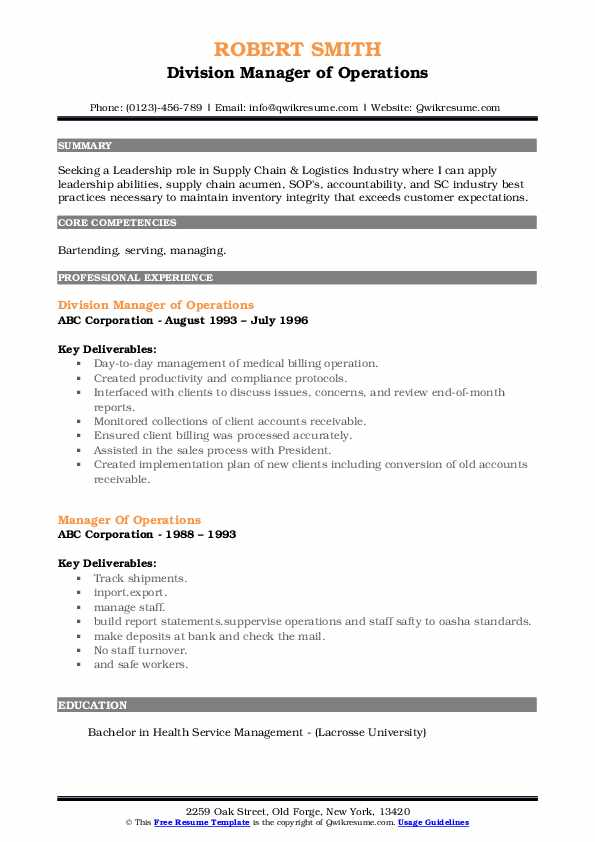 Division Manager of Operations Resume Model