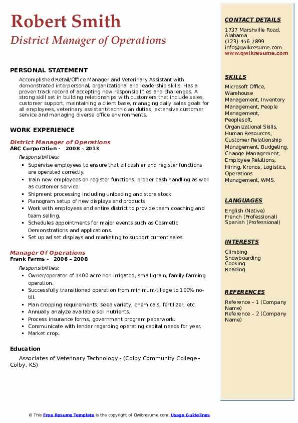 District Manager of Operations Resume Model