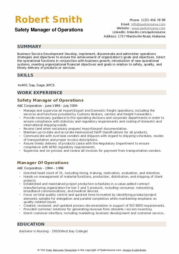 Safety Manager of Operations Resume Example