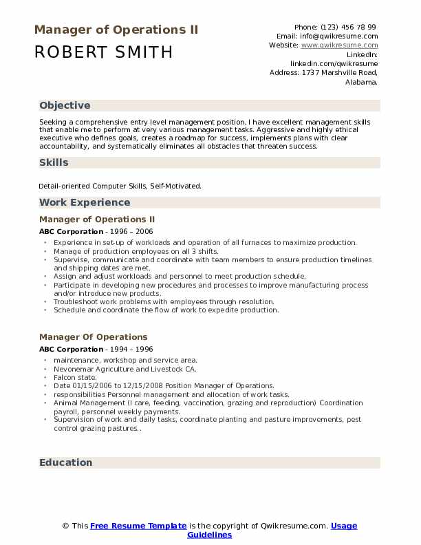 Manager of Operations II Resume Model
