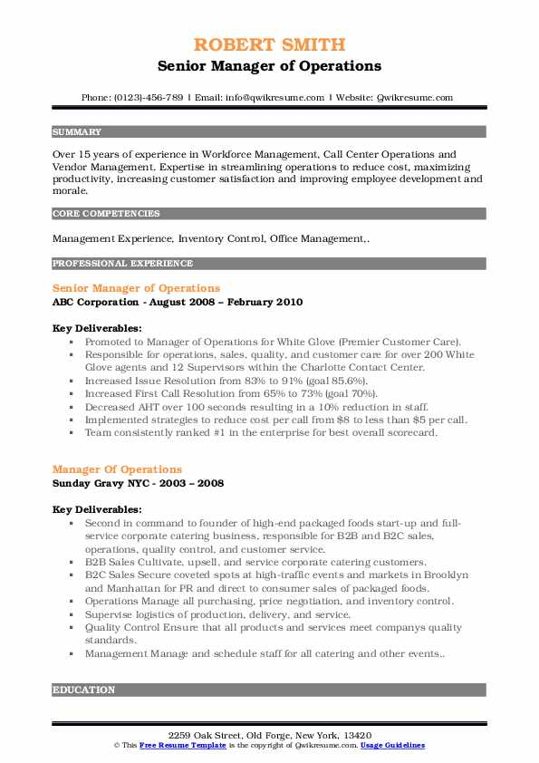 Senior Operations Manager Resume Samples | QwikResume