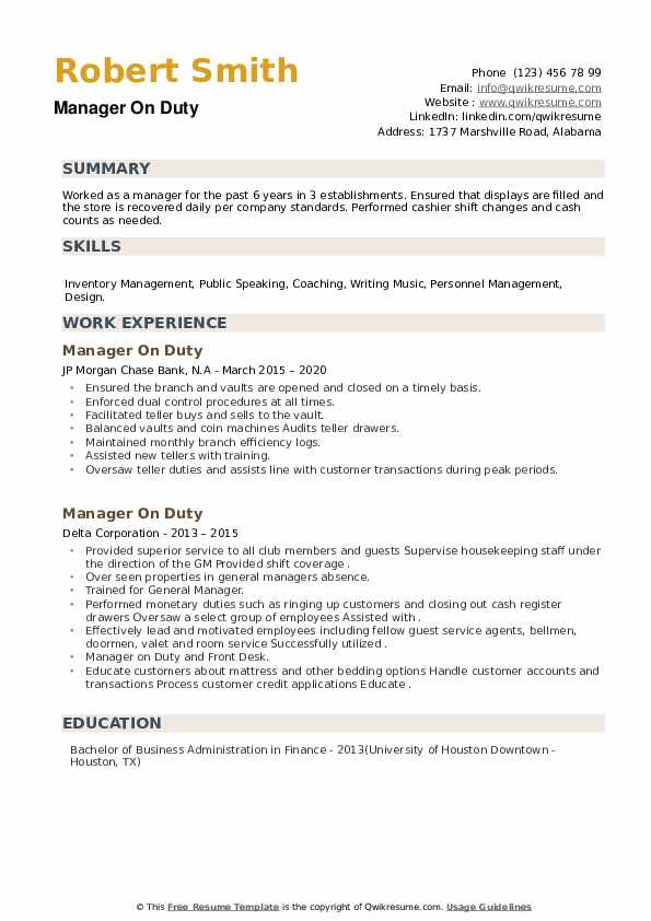 Manager On Duty Resume example