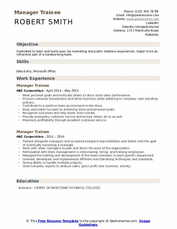 Manager Trainee Resume Template