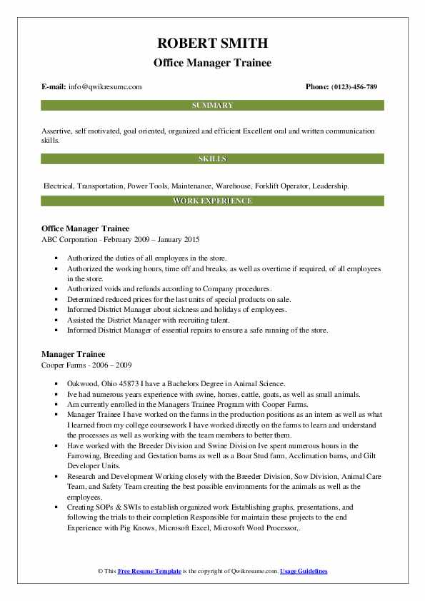 Office Manager Trainee Resume Model