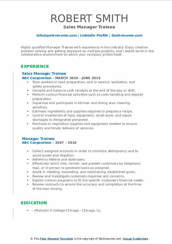 Sales Manager Trainee Resume Format
