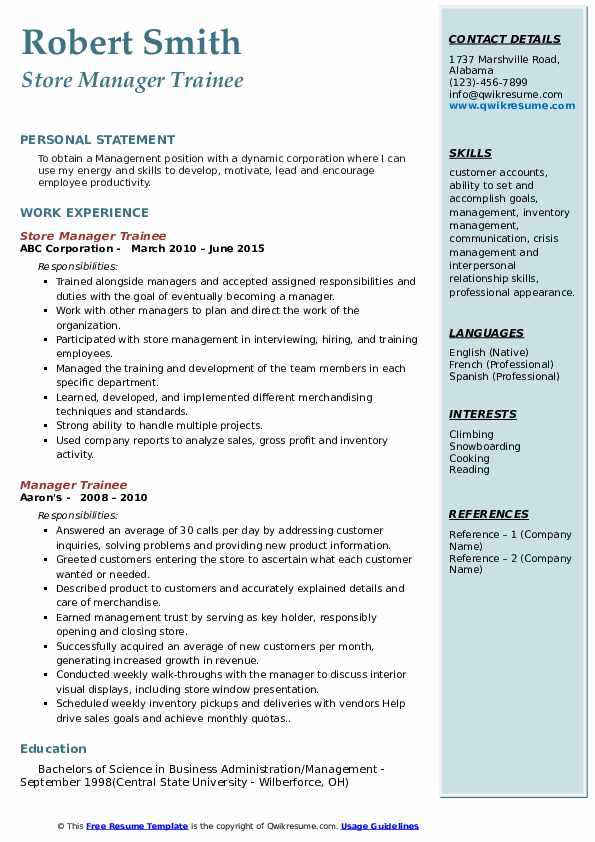 Store Manager Trainee Resume Model