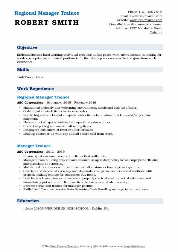 Regional Manager Trainee Resume Template