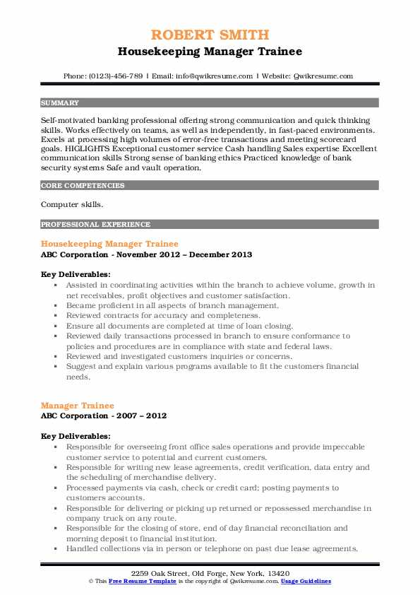 Housekeeping Manager Trainee Resume Template
