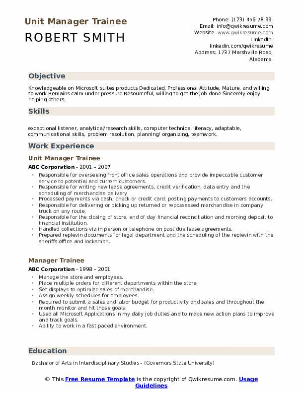 Unit Manager Trainee Resume Sample