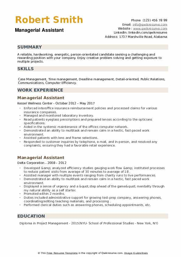 Managerial Assistant Resume example