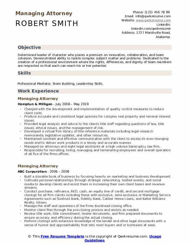 managing attorney resume